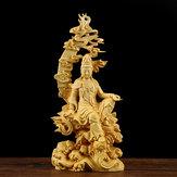 Boxwood Wood Carving Handmade Bodhisatva Sculpture Craft Decorations