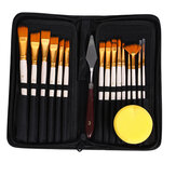 17Pcs Paint Brush Set Includes Pop-up Carrying Case with Palette Knife and 1 Sponges for Acrylic Oil Watercolor Gouache Painting