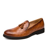 Hommes Brogue Tassel Decor Microfiber Leather Slip On Party Chaussures formelles