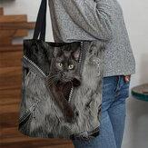 Kadın Tuval Üç Boyutlu Güzel Sevimli Kediler Desen Çanta Tote Omuz Çanta