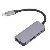 Przenośny konwerter 3 w 1 USB Type-C HUB 4K HDMI 87W USB-C 5Gbps Adapter USB3.0 Szary