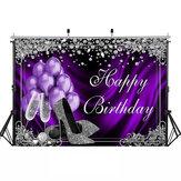 Блеск Для взрослых Фон для дня рождения Фиолетовые воздушные шары для фотографий на высоком каблуке Шаблон Фон стола для украшения дома Фо