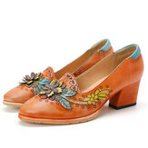 SOCOFY Retro Splicing Floral Leather Slip On Block Heel Pumps Vestido Zapatos
