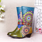 SOCOFY Women Folkways Pattern High Heel Tall Mid Calf Winter Round Toe Boots