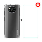 Enkay 2-in-1 for POCO X3 Accessories with Airbags Non-Yellow Transparent TPU Protective Case + 9H Anti-Scratch Tempered Glass Screen Protector