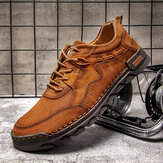 Hommes confortables cousus à la main en cuir microfibre antidérapant doux à lacets chaussures décontractées