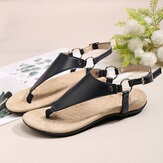 Women Metal Buckle Flip Flops Casual Flat Slingback Sandals