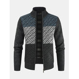 Mens Knitting Graphics Zipper Colorblock Warm Long Sleeve Sweater Jacket