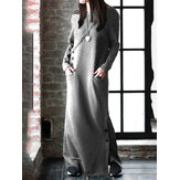 Women Solid Color Side Split Long Sleeves Button Maxi Dresses With Pocket