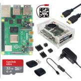 Catda 4GB RAM Raspberry Pi 4B + Abdeckbox + Netzteil + 32/64GB Speicherkarte + Micro HDMI DIY Satz