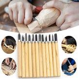 12Pcs Tallado en madera herramienta Kit Carpintería herramientas Cuchillo de cincel Gubia de madera Grabado a mano Machete Angle Cutter DIY herramientas