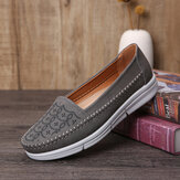 LOSTISY Women Hand Stricing Hollow Comfy Massage Breathable Casual Flats