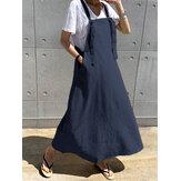 Casual Kadın Gevşek Cepler Düz Renk Kolsuz Elbise