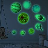 Adesivos luminosos do sistema solar para nove planetas adesivos fluorescentes autoadesivos para crianças decoração de parede de quarto de bebê