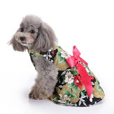 Floral Dog Harness Dress Pet Clothes D-ring Vest Shirts Sundress Black