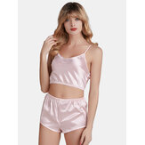 Sling Mini Short Tops & Pants 2-Piece Striped Satin Pajamas