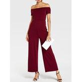 Combinaison décontractée élégante à manches courtes pour femmes de couleur unie à épaules dénudées