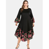 Plus Size Floral Print Patchwork Holiday Dress