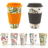 300-450ML Portable Travel Reusable Bamboo Fiber Coffee Cup Eco-Friendly Water Drinking Mug
