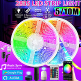 16FT / 32FT 5M / 10M 2835 RGB IP65 LED Strip Strip + Bluetooth контроллер WiFi + 24 ключа Дистанционный Control + 12V Power Работа с Google Alexa