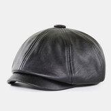 Erkekler PU Deri Retro İngiliz Tarzı Sonbahar Kış Sıcak Sekizgen Tutmak Şapka Newsboy Şapka