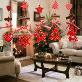 クリスマスツリーオーナメントウッドスノーフレークハートスターベルパーティーホームクリスマスデコレーションナビダードデコレーションウィンドチャイムズ