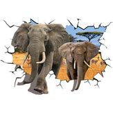 Kreative3DAfrikanischeTierElefantenPVC Gebrochene Wandaufkleber DIY Abnehmbare Decor Wasserdichte Wandaufkleber Haushalt Home Wandaufkleber Poster Dekoration für Schlafzimmer Wohnzimmer