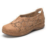 LOSTISY Women Hollow Out Slip Resistant Comfy Elastic Band Slip On Casual Flats