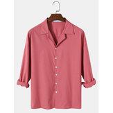 Camisas simples de manga larga con cuello de campamento de color sólido de algodón para hombre