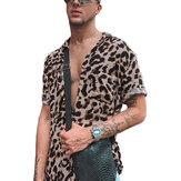 OUTDOOR Summer Leopard Print Shirts Fashion Men Short Sleeve Lapel Shirt Casual Floral Blouse Men Hawaiian Beach Tops