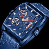 MINI FOCUS MF0322G Reloj de pulsera rectangular con esfera creativa para hombre Piel Genuina Banda Reloj de cuarzo