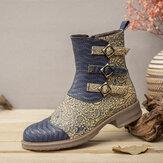 SOCOFY Impresso Tecido Splicing Round Toe Embossed Couro Genuíno Botas curtas com zíper confortável