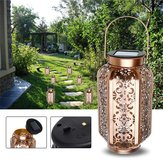 Solar Powered Vintage Metal LED Lantern Light Udendørs Have Landskab Yard Lampe