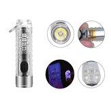 SEEKNITE S11 400LM 6500K EDC Llavero Linterna con luz lateral de 6 engranajes, trabajo de reparación de cola magnética Lámpara Type-C Indicador de carga y recargable Mini luz de señal UV Linterna