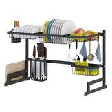 キッチン用品ホルダー用ステンレススチール棚皿乾燥シンクドレンラック収納セット