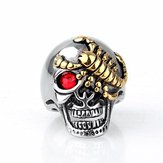 Fashion Stainless Steel Ring Gold Scorpion Skull Ring Red Eye Zircon Ring Halloween Jewelry