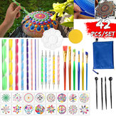 42PCS / Set Mandala Dotting Tools Kit de peinture rupestre Dot Art Rock Pen Paint Stencil