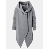 Mens Hooded Zipper Pocket Symmetry Hem Dark Grey Cardigans