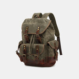 Men Vintage Canvas Leather Wear-resistant Anti-theft Waterproof Backpack Leisure Travel Bag