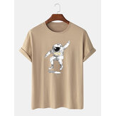 Mens Casual 100% Cotton Astronaut Printed Round Neck Short Sleeve T-shirts