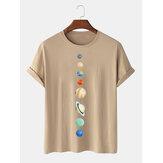 Hombres 100% algodón Planet Print Crew Cuello Camisetas de manga corta