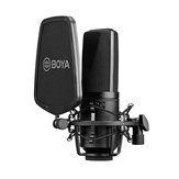 BOYA BY-M1000 Professional Condenser Microphone Kit Support Cardioid/Omnidirectional/Bidirectional with Double-layer Popfilter Shock Mic
