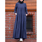 Women Casual Layered Pleats Denim Loose Muslim Maxi Dress with Pockets