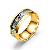 الأزياء المقاوم للصدأ التنين نمط خاتم متعدد الألوان زوجين خواتم لها هدية له