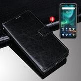 Bakeey 2-IN-1 az UMIDIGI BISON globális sávok tartozékkészletéhez Mágneses flip több kártyahellyel PU bőr fekete védőtok + 9H robbanásgátló edzett üveg képernyővédő fólia