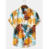 Holiday Style Plant Print Mens Lapel Collar Short Sleeve Shirts