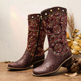 SOCOFY Exquisite Embroidery embossed Genuine Leather Low Heel Mid Calf Boots