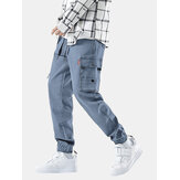 Mens Cotton Cargo Style Drawstring Elastic Ankle Denim Pants With Multi Pockets