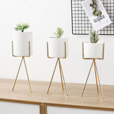Gold High Tripod Plant Iron Stand + Keramisk Blomst Succulent Pot Display Rack Holder Decor