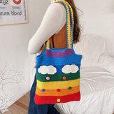 Frauen Regenbogen Streifen Cartoon niedlich lässig Youth Wolle Strick Tasche Handtasche Einkaufstasche Umhängetasche